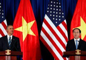ChuTich CHXHCNVN Trần Đại Quang và Tổng thống Obama tại họp báo quốc tế Việt Nam - Hoa Kỳ - Ảnh  Reuters.